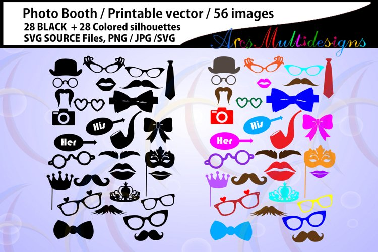 photo booth svg / Props svg / 28B + 28C / photo booth props / cut files /SVG/ vector / PNG / clipart / colored / props / props cut file example image 1