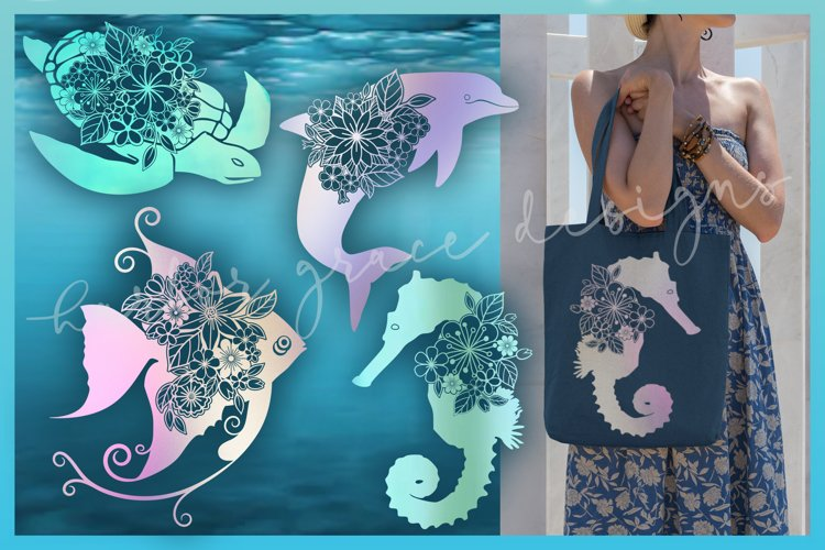 Sea Turtle Dolphin Angel Fish Seahorse Floral Mandala Bundle