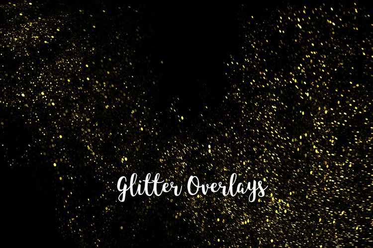 Yellow Glitter Overlays, Gold Glitter Bokeh Overlays example image 1