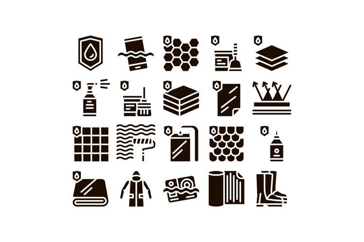 Waterproof Materials Glyph Icons Set Vector example image 1