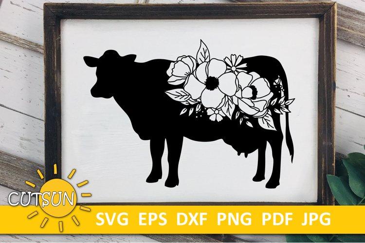 Floral Cow SVG   Cow SVG   Farmhouse SVG