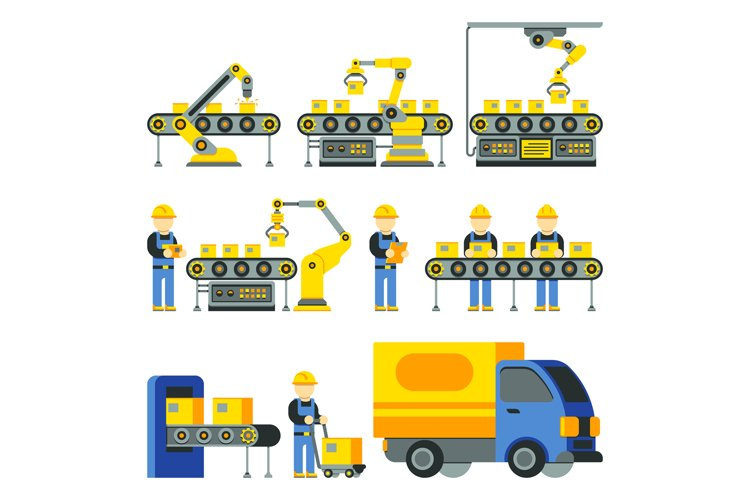 Manufacturing process with production factory line vector fl example image 1