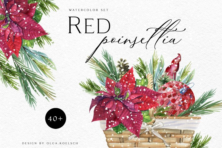 Watercolor Christmas clip art Red poinsettia winter clipart example image 1