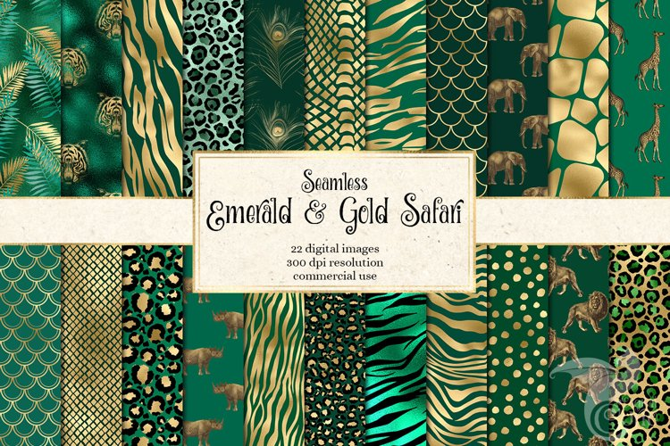 Emerald and Gold Animal Print Digital Paper example image 1