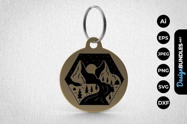 Mountain Illustrations Keychain