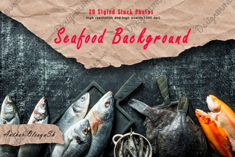 20 photos Seafood background. Variety of fresh seafood. example image 1
