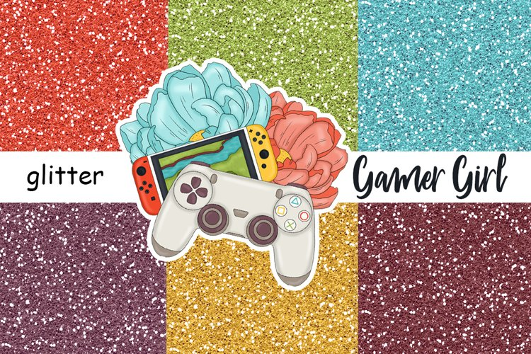 Gamer Girl GLITTER Rainbow For Planner Stickers - JPEG files example image 1