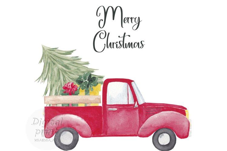 Farm fresh christmas trees, Red old farm car clipart example image 1