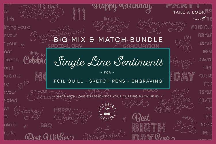 Foil Quill Mix & Match Sentiments Bundle | Single Line SVG example image 1