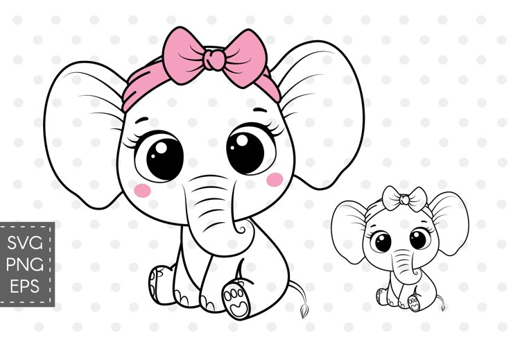 Cute elephant with bow, SVG, PNG, EPS example image 1