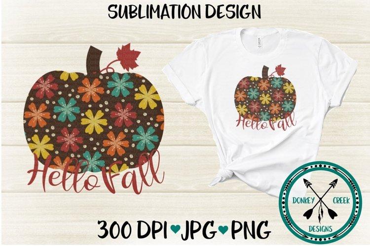 Floral Pumpkin Sublimation Design example image 1
