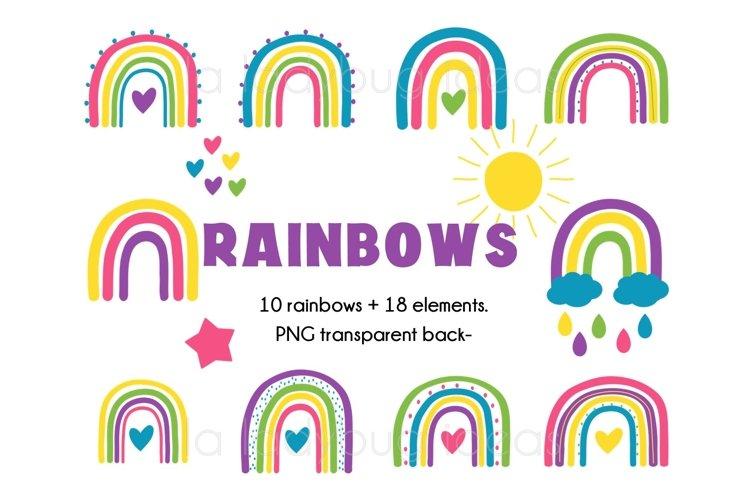Rainbows clipart. Colorful rainbows clip art. 28 PNG