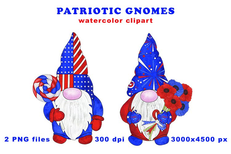 Patriotic 4th of July gnomes, hand-drawn watercolor clipart