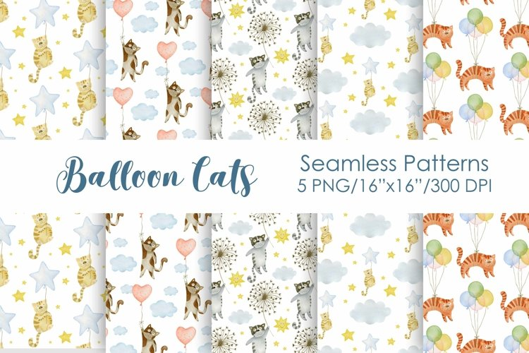 Watercolor Cats Balloons Seamless patterns.