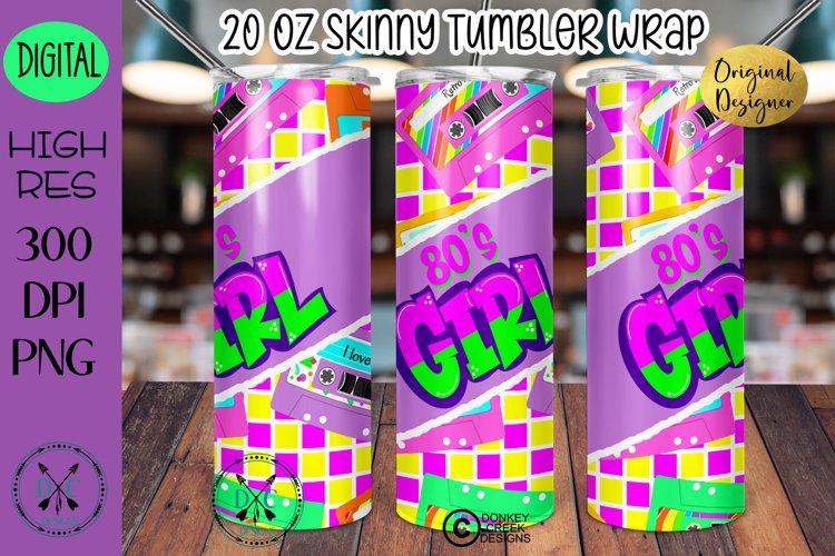 Sublimation Design Retro 80s Girl 20 oz tumbler wrap