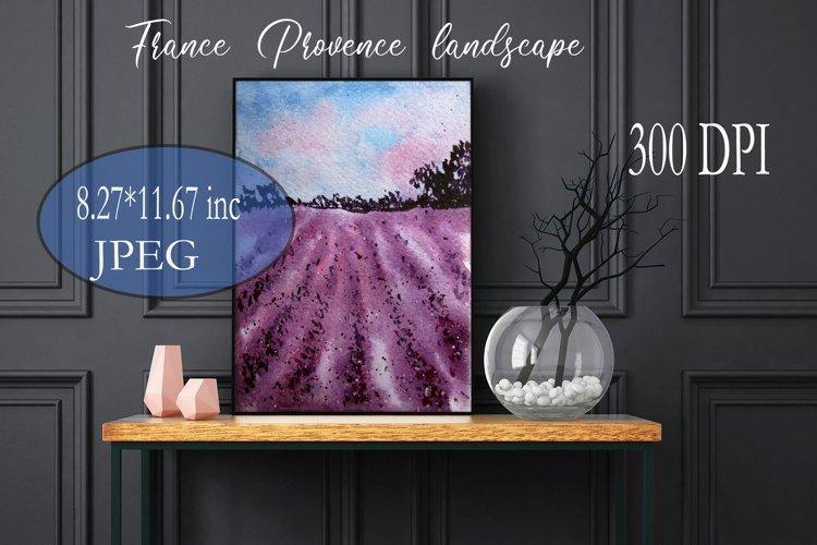 Summer Landscapes. Watercolor lavender