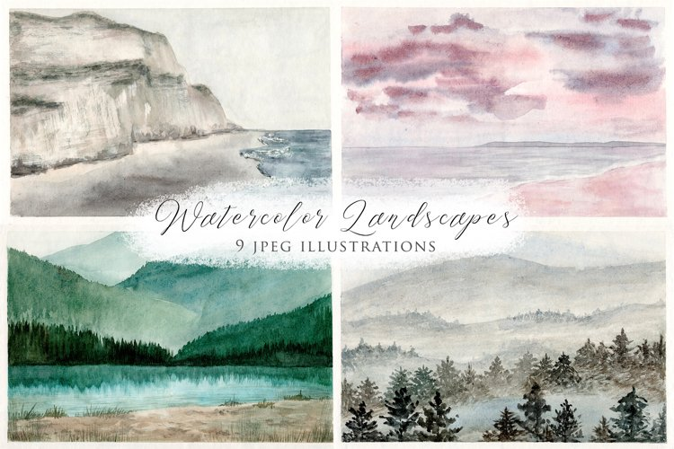 Watercolor Landscapes Collection Illustrations