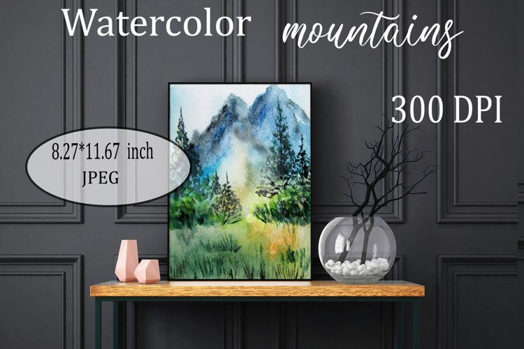 Watercolor mountains, forest, Landscape