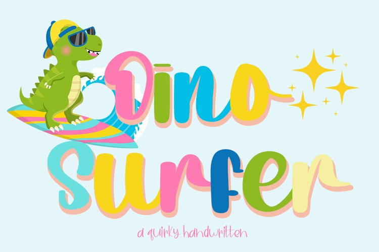 Dino Surfer   A Cute Quirky Handwritten example image 1