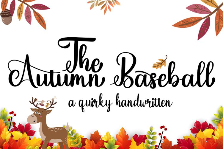 The Autumn Baseball   A Quirky Handwritten example image 1