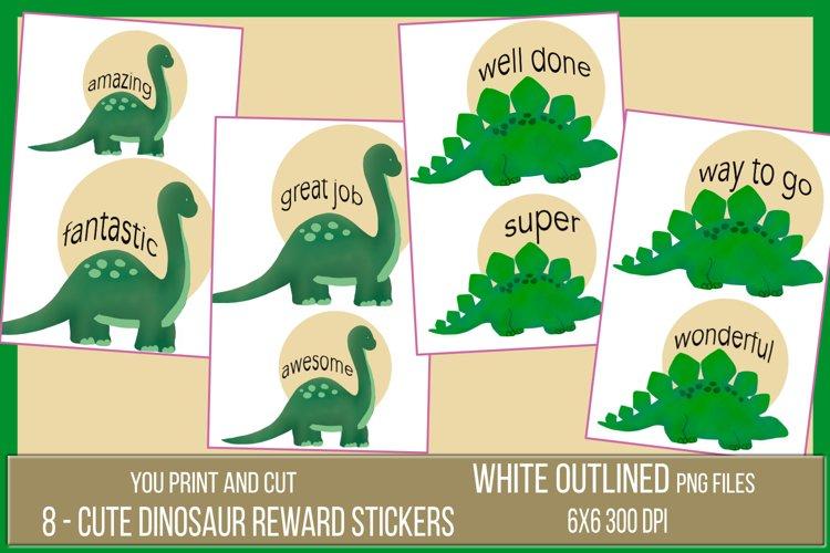 Teacher Reward Stickers - 8 clipart Dinosaurs PNG file