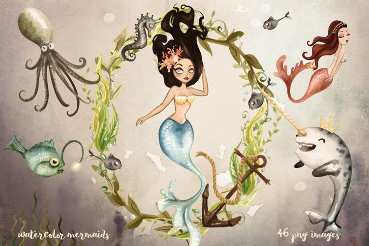 Watercolor Mermaids Collection example image 1