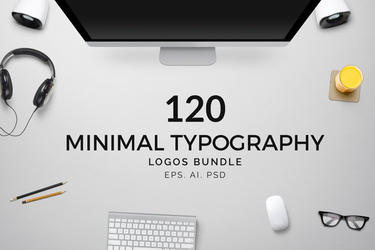 120 Minimal Typography Logos Bundle example image 1