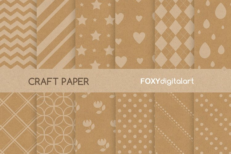 Digital paper brown kraft paper wedding christmas gift wrap example image 1