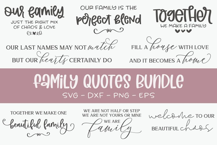 Family Quotes Bundle - 8 Family Sign SVG Cut Files