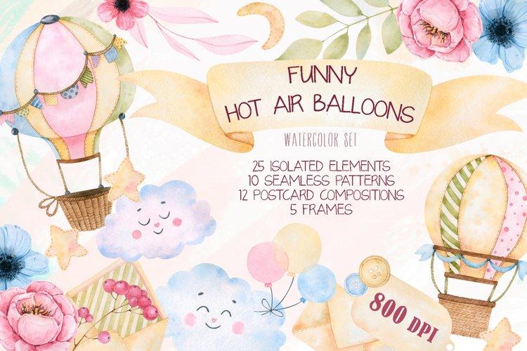 Funny hot air balloons watercolor set