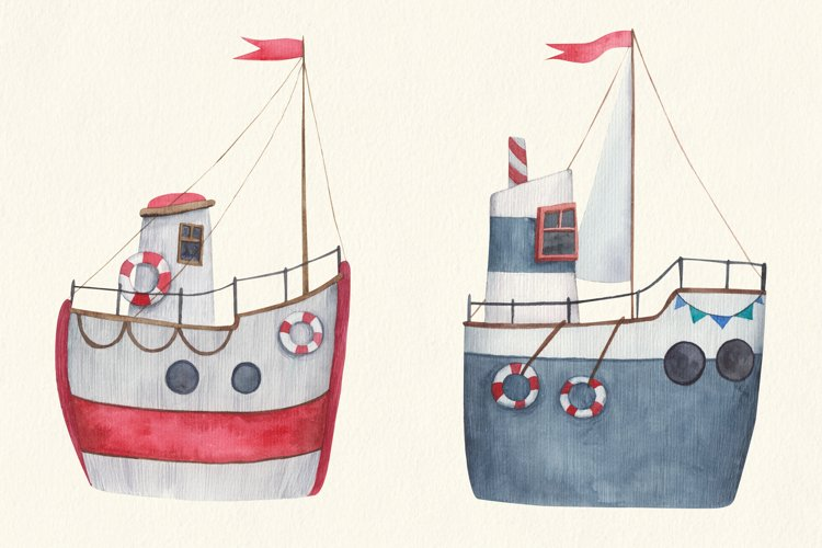 Baby transport watercolor set, airplane, submarine, train example 3