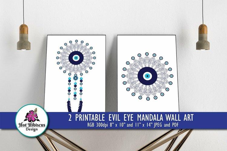 Evil Eye Boho Dreamcatcher Mandala Printable Wall Art