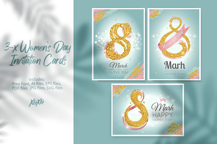 3 Womens Day Invitation Cards