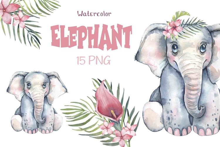 Watercolor elephant clipart.