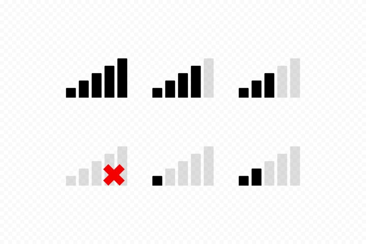 Wireless Wi Fi or mobile network signal icons. Set of vector example image 1
