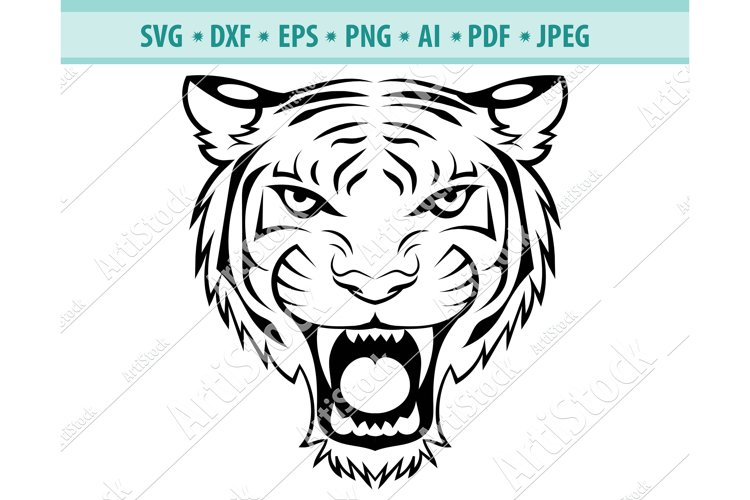 Tiger Face SVG, Head of a tiger clipart, Cats Dxf, Png, Eps