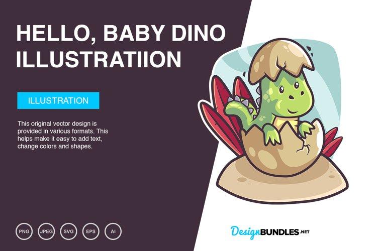 Hello, Baby Dino Vector Illustration example image 1
