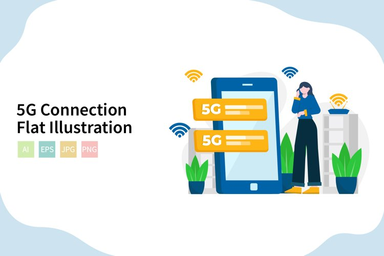 5G Connection Flat Vector Illustration example image 1