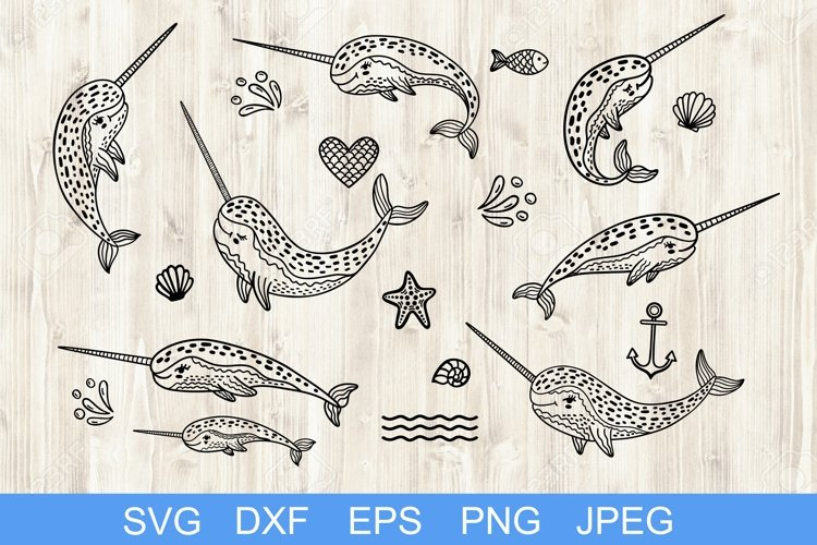 Set of handdrawn cute funny narwhals. Cartoon characters SVG example image 1