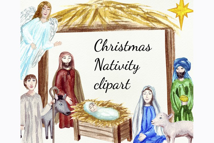 Watercolor Christmas Nativity clipart, Digital png files