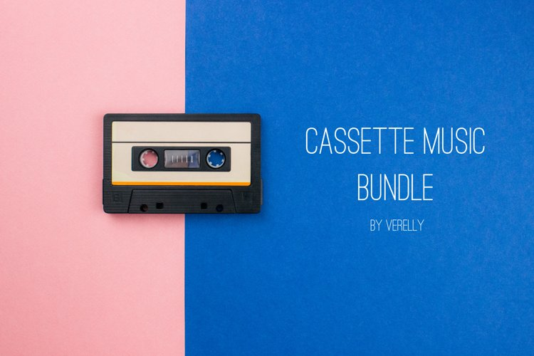 Cassette music bundle. Cassettes flat lay on pink and blue.