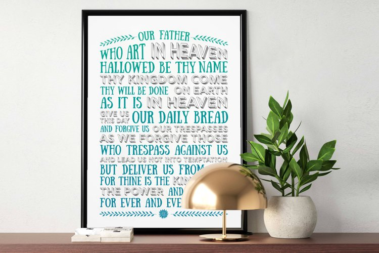 The Lords Prayer - blue green