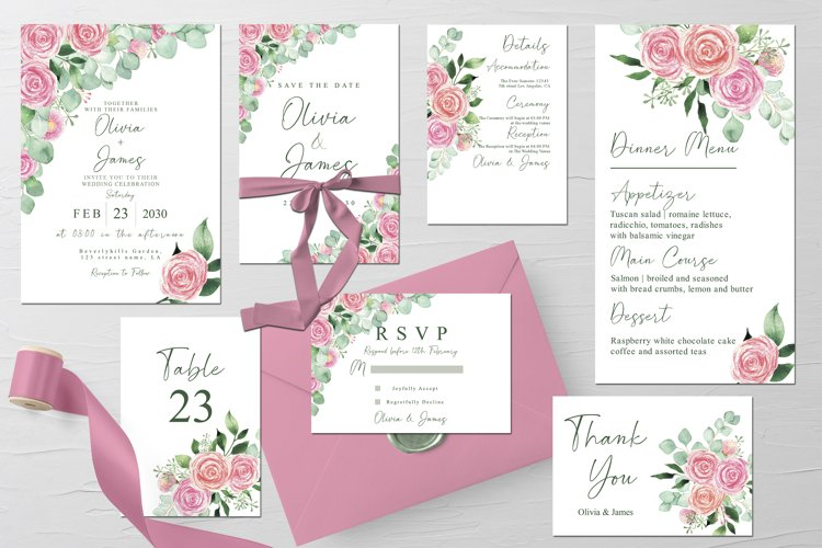 Watercolor Roses and Eucalyptus Wedding Suite Template