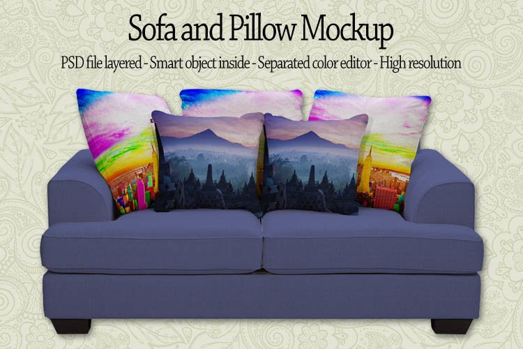 Sofa with Pillow Mockup