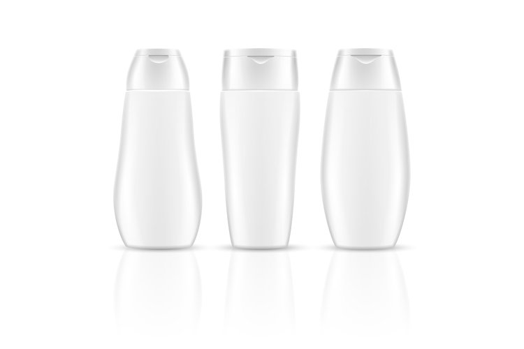 White blank shampoo bottles cosmetic container packages vect example image 1