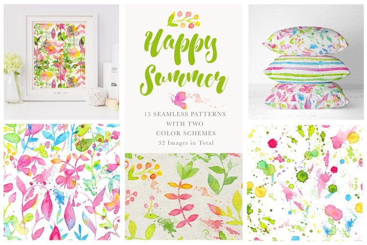 Happy Summer Seamless Patterns example image 1