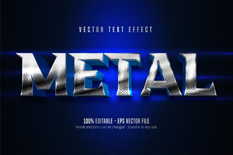 Metal text, metallic silver style editable text effect example image 1