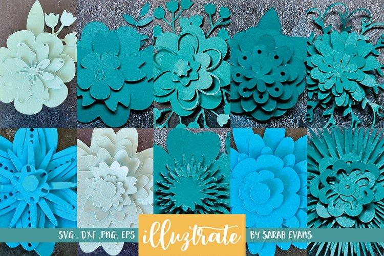 Paper Flower Template Bundle | Paper Cutting Bundle SVG example image 1