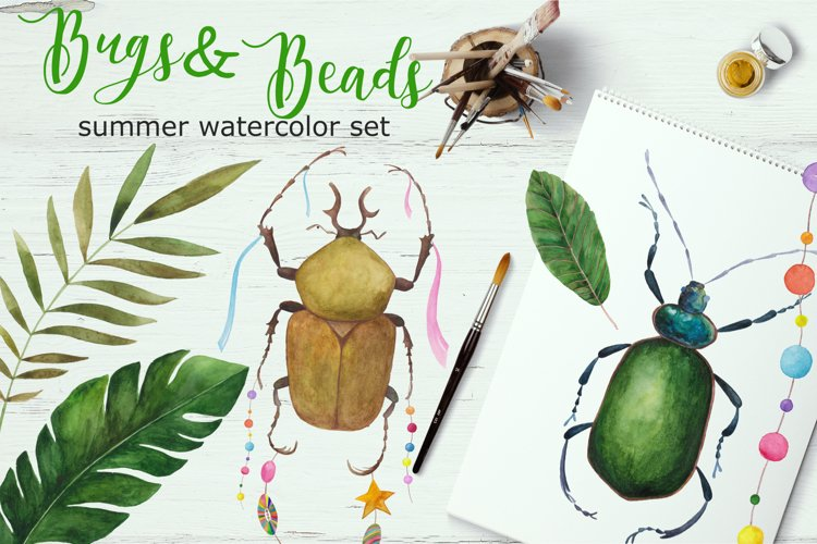 Bugs&Beads. Bright watercolor set example image 1