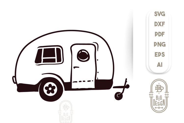Camping SVG File - Camper Van Illustration - Trailer SVG example image 1